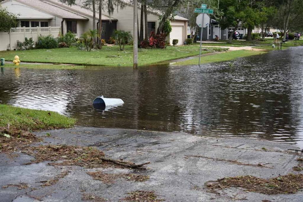 aftermath of hurricane Irma. Flooded street in residential community in Jacksonville, FL.